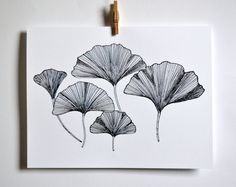 Ginkgo Leaves Greeting Card on Etsy, $4.00