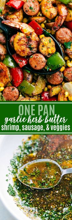 AMAZING One pan easy dinner -- garlic butter and herb seasoned shrimp, sausage, and potatoes via chelseasmessyapron.com