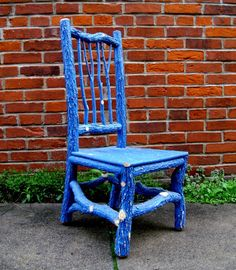 Not in blue but....  Childs Blue Rustic Chair. $195.00, via Etsy.