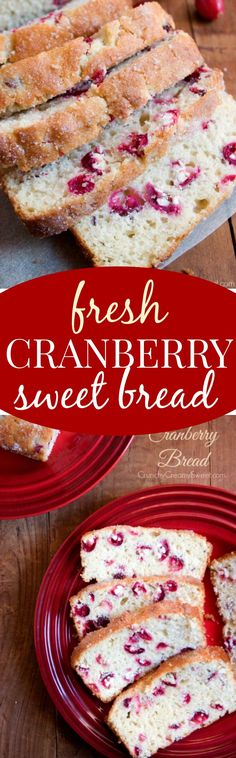 Cranberry Bread Great recipe that doesnt call for orange juice Nice flavor Didnt make the topping Will make again Baked for 4045 minutes Quick Bread Recipes, Baking Recipes, Dessert Recipes, Desserts, Fruit Bread, Dessert Bread, Cranberry Bread, Fresh Cranberry Recipes, Naan