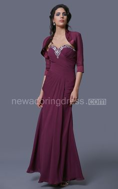 Sweetheart Chiffon Ruched Dress With Beadwork and Half-Sleeve Jacket