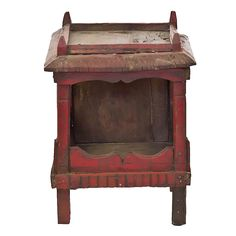"""Vintage hand carved wooden shrine from the remote villages in Rajasthan. This unique shrine having four pillars and decorative roof. - * Material: Wood - * Size: 9.5(W) X 10.5(D) X 14""""(H) - * Color: A"""