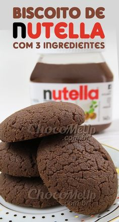 Nutella Cookie Recipe with 3 Ingredients. These cookies are super . - Nutella Cookie Recipe with 3 Ingredients. These cookies are super practical and best of all, they a - Hot Chocolate Gifts, Nutella French Toast, Bean Cakes, Nutella Cookies, Good Food, Yummy Food, Four, Quick Easy Meals, Sweet Recipes