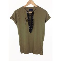 olive green lace up t-shirt ❤ liked on Polyvore featuring tops, t-shirts, army green top, short sleeve t shirts, brown tops, brown t shirt and lace up front top - shirts, country, for men, for men, polo, teacher shirt *ad
