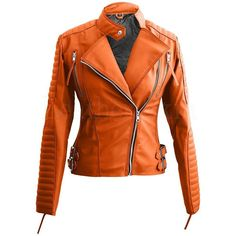 Orange Brando Women Faux Leather Jacket (3 555 UAH) ❤ liked on Polyvore featuring outerwear, jackets, vegan jacket, fake leather jacket, orange jacket, imitation leather jacket and synthetic leather jacket