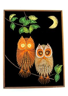 vintage string art | Vintage Owl String Art Picture par Thewindywillows sur Etsy