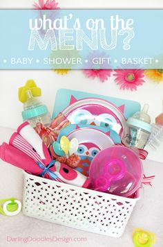 DIY baby shower gift basket idea with printable tag. ♡