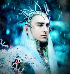 """Merry Christmas from Mirkwood 🎄🎄 """"Red Berries Coated With Ice"""" by QuelleElenath Tolkien Hobbit, O Hobbit, Lotr, Jessica Alba Dress, Lee Pace Thranduil, Mirkwood Elves, Woodland Flowers, The Hobbit Movies, Ice King"""
