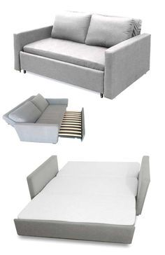 Sofa folds into queensize bed (affordable) | http://www.godownsize.com/affordable-sofa-queensize-guest-bed/