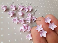 pink 5 petal lilac polymer clay by IraRuzhovychSupplies Felt Flower Tem. pink 5 petal lilac polymer clay by IraRuzhovychSupplies Felt Flow Satin Flowers, All Flowers, Beaded Flowers, Pretty Flowers, Fabric Flowers, Paper Flowers, Polymer Clay Flowers, Polymer Clay Crafts, Polymer Clay Jewelry