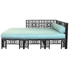 This Chinoiserie-style daybed has a stunning caned base supported by a bamboo and rattan frame. Sage green silk upholstery on the comfortable cushions make it both a soothing and luxurious addition to a traditional décor. Asian Decor, Daybed, Outdoor Furniture, Outdoor Decor, Decorative Objects, Chinoiserie, Ottoman, Dining Room, Flooring