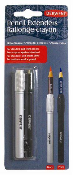 Derwent Pencil Extender Set, Silver and Black, For Pencils up to 2 Pack Derwent 2 pack pencil diameter Derwent Pencils, Derwent Inktense, Writing Correction, Artist Pencils, Drawing Letters, Coloured Pencils, Writing Instruments, Drawing Tools, Wood Colors