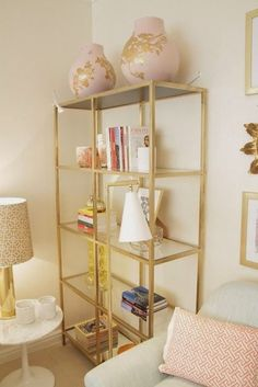 Love this IKEA hack using gold spray paint. Gorgeous! Well-Nested Interiors: bubbles and blush!