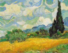 A Wheat field with Cypresses - Vincent Van Gogh