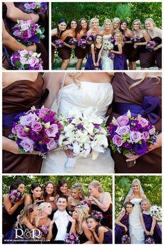 Wedding FLowers in Purple & Brown