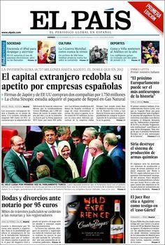 Los Titulares y Portadas de Noticias Destacadas Españolas del 1 de Noviembre de 2013 del Diario El País ¿Que le pareció esta Portada de este Diario Español?
