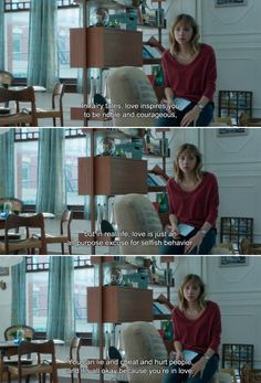 ― What If (2013) Wallace: In fairy tales, love inspires you to be noble and courageous, but in real life, love is just an all-purpose excuse for selfish behavior. You can lie and cheat and hurt people, and it's all okay because you're in love.