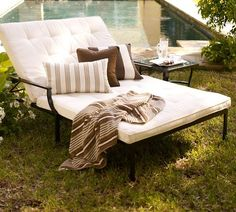 Riviera Double Chaise & Cushion: Room for two| POTTERY BARN..
