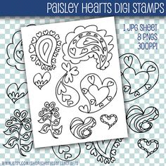Digi Stamps Paisley Hearts Line Drawing by CheriesArtsnCrafts