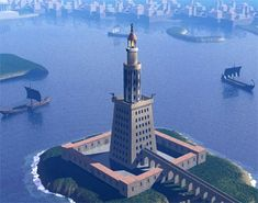 THE LIGHTHOUSE OF ALEXANDRIA. The Lighthouse of Alexandria was a tower built between 280 and 247 BC on the island of Pharos at Alexandria, Egypt. Its purpose was to guide sailors into the port of Alexandria. WikipediaGoogle Image Result for http://unmuseum.mus.pa.us/pharos_lighthouse_med.jpg