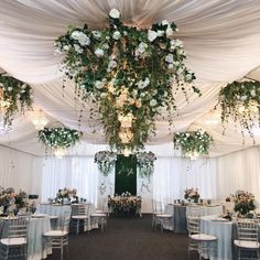 Nest of angel lace and snapdragons dressing up the chandelier / Blooming Floral Studio White Tent Wedding, Wedding Reception Entrance, Rustic Wedding Backdrops, Wedding Reception Backdrop, Wedding Ceiling Decorations, Simple Wedding Centerpieces, Traditional Wedding Decor, Wood Wedding Invitations, Marriage Decoration