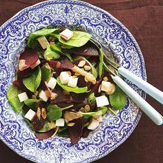 Recept - Bieten-spinaziesalade - Geitenkaas - pompoenpitten