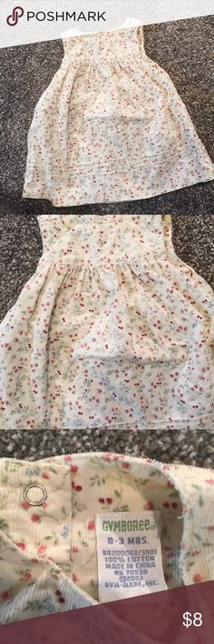 {GYMBOREE} 0-3 Months Corduroy Jumper Cute corduroy number with pretty floral detail by Gymboree . Snaps at the back . EUC.  Bundle 2+ and Save 20%. Gymboree Dresses Casual
