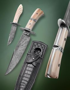 Knife Gallery (SOLD - Example Only)/Southern bowie and small boot knife - Jerry Fisk Knives ceymer 26 Damascus Blade, Damascus Knife, Swords And Daggers, Knives And Swords, Boot Knife, Cool Knives, Pretty Knives, Best Pocket Knife, Handmade Knives