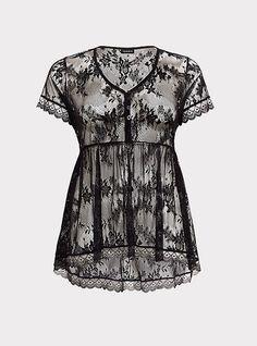 25b1ebaee69 Black Lace Button-Up Babydoll Top