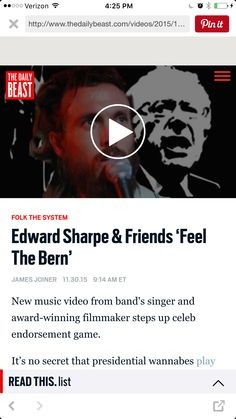"""Feel the Bern folk song ...   """"I felt like Bernie presented the first opportunity for me to feel honest in writing a sing-along in the simple tradition of social movements focused on a presidential candidate,"""" said Ebert in a statement. """"The intention is for the verses to be improvised and changed as circumstances dictate, with only the choruses are the consistent refrain."""""""
