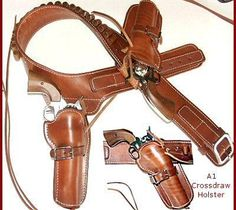 Circle KB Quickdraw CrossDraw Holsters and Gun Belt by Maker Brett Park, one of Americas's best holster makers. Cowboy Holsters, Western Holsters, Custom Leather Holsters, Cowboy Action Shooting, Pistol Holster, Cowboy Gear, Cool Guns, Le Far West, Leather Projects