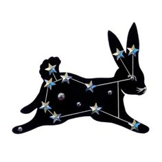So in love with this Sky Lab Rabbit Brooch by . Devine Love, Tatty Devine, Artist Card, Pin And Patches, Stars And Moon, Creative Gifts, Hare, Brooch Pin, Print Design