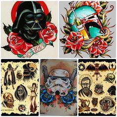 old school traditional star wars tattoos Star Wars Tattoo, Star Tattoos, Tatoos, Star Wars Quotes, Star Wars Humor, Traditional Tattoo Arm, American Traditional Sleeve, Hero Tattoo, Tattoo Art