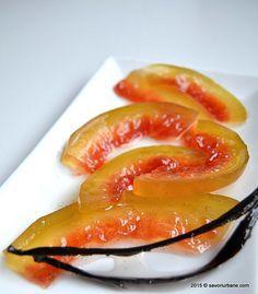 Dulceata din coaja de pepene verde rosu lubenita Savori Urbane (2) Grapefruit, Pantry, Jelly, Deserts, Food And Drink, Yummy Food, Sweets, Homemade, Gem