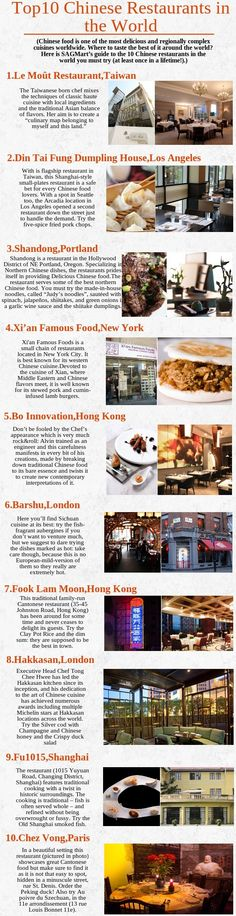 Chinese restaurants, which ranked as top 10 in all around the world, having some great specialities in their Chinese food comprise by their talented chefs. Din Tai Fung, Special Meaning, Chinese Restaurant, Dumpling, Chinese Food, Best Hotels, Chefs, Coffee Shop, Restaurants