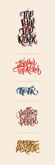 TPTK or Top Pair Top Kicker is a french porker t-shirts brand,here it's the final work and also some of unused sketches. Cool Typography, Typo Logo, Graphic Design Typography, Lettering Design, Typography Served, Typography Poster, Design Fonte, Web Design, Logo Design