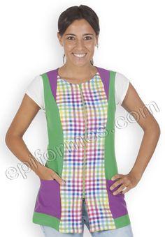 Blusa vichy multicolor Confeccionada en Tejido plana de 100% poliester .Prenda semiajustada con dos bolsillos y cremallera lateral con pinzas en la espalda. Largo apróximado 73 Cm, Tallas: XS-S-M-L-XL-XXL -