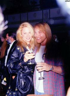 Axl Rose of Guns N' Roses and ex girlfriend Jennifer Driver, 1993, early '90s