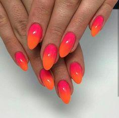 Ombre Nail Designs, Colorful Nail Designs, Orange Nails, Pink Nails, Hot Nails, Hair And Nails, Rose Orange, Funky Nail Art, Creative Nails