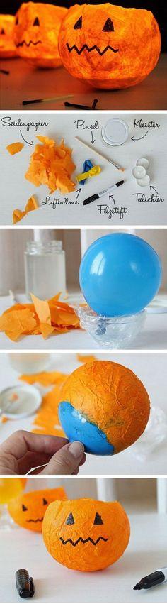 DIY Pumpkin Lanterns. Create a pumpkin lantern using tissue paper and balloons… More
