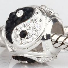 Everbling yin Yang with White and Black Austrian Crystal 925 Sterling Silver Bead Fits Pandora Charm Bracelet
