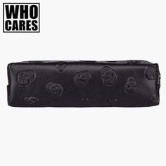 Skull black Leather makeup bag purse organizer travel 2016 Fashion pouch bolsos PU cosmetic bag pencil case maleta de maquiagem