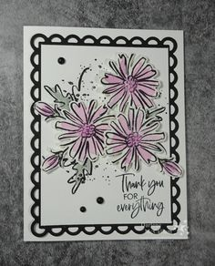 This Color & Contour card in Fresh Freesia ended up being so simple to stamp and put together. The new catalogue bundle that I used for this card - the Color & Contour stamp set and Scalloped Contour Dies - includes 13 stamps as well as 8 dies and is quickly becoming a favourite that I reach for often. To make this card, I stamped three flowers and three buds onto Fluid 100 Watercolor Paper using Black StazOn ink. Then I added colour to the flowers using the Fresh Freesia and Soft Succulent ref Watercolor Flowers, Watercolor Paper, Color Contour, Club Design, Craft Club, Distress Ink, Creative Cards, Flower Cards, Colorful Flowers
