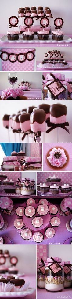 Brown and Pink Baby Shower - Dessert Table - Pink and Brown / Mesa de postres y dulces para baby shower en colores rosa y café - Ideas para decorar un baby shower - #Baby #Shower #ideas