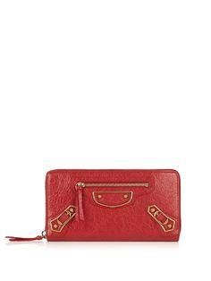 Textured-leather Wallet - Burgundy Balenciaga Original Sale Choice Discounts Cheap Online Sale Real 1WhUmaB