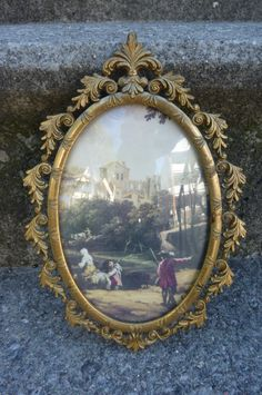 """Hollywood Regency Framed Art Vintage Italianate Metal Frame Small Oval Pastoral Scene Domed Glass Made in Italy Repurpose Frame 8"""" X 5 1/2"""" by ZoomVintage on Etsy"""
