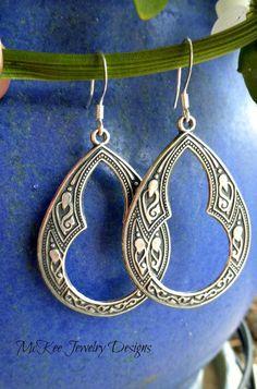 Sterling silver Celtic boho hoop earrings. Moroccan, bohemian, indie hoop jewelry. McKee Jewelry Designs  #jewelry