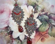 Gratis verzending. Exclusieve!!! Earring is tatting. Unieke handgemaakte Jewellery.Victorian stijl.