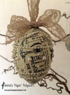 jpp - Vintage Ostereier mit Perlen / Easter Egg Decoration / Osterdekoration / Stampin' Up! Berlin / Designerpapier Erstausgabe / Spitzenband Taupe www.janinaspaperpotpourri.de