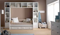 Ignore the Wall Color - LOVE this twin bed, trundle concept w/ the awesome shelving all around!  Would work so perfect w/ our small space.  Where do I find this?